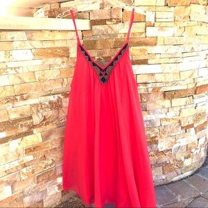 Express Coral Beaded Neckline Babydoll Dress